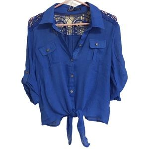 Simply Irresistible Shiny Blue Button-Up Blouse